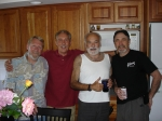Another reunion of sorts: (l to r) Jimmy Brown, Dick Wolf and George Barner of the Corvettes, with musician and friend C
