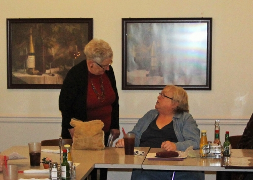 3/1 Reunion Committee Meeting - Sherry Kent Myers and Diane Kneeland -picture by Terry Roberts Mills