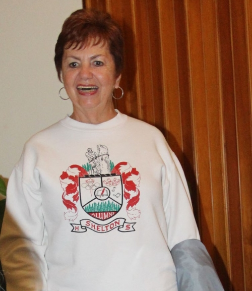 3/1 Reunion Committee Meeting - Mary Lou Younglove Hughes modeling a SHS sweatshirt - picture by Terry Roberts Mills